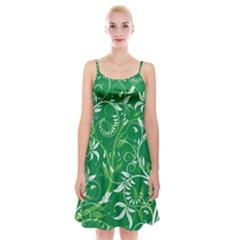 Leaf Flower Butterfly Green Spaghetti Strap Velvet Dress