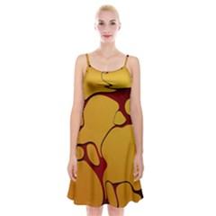 Black Yellow Orange Spaghetti Strap Velvet Dress
