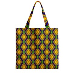 Morocco Flower Yellow Zipper Grocery Tote Bag by Jojostore