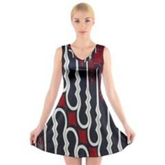 Batik Jogja Red Black V Neck Sleeveless Skater Dress by Jojostore
