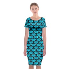 Scales3 Black Marble & Turquoise Marble (r) Classic Short Sleeve Midi Dress by trendistuff