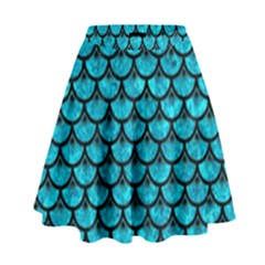 Scales3 Black Marble & Turquoise Marble (r) High Waist Skirt by trendistuff
