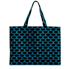 Scales3 Black Marble & Turquoise Marble Zipper Mini Tote Bag by trendistuff