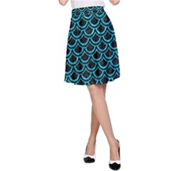 Scales2 Black Marble & Turquoise Marble A Line Skirt by trendistuff