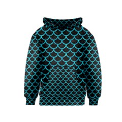 Scales1 Black Marble & Turquoise Marble Kids  Pullover Hoodie