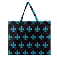 Royal1 Black Marble & Turquoise Marble (r) Zipper Large Tote Bag by trendistuff