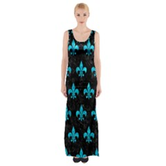 Royal1 Black Marble & Turquoise Marble (r) Maxi Thigh Split Dress by trendistuff