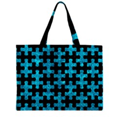 Puzzle1 Black Marble & Turquoise Marble Zipper Mini Tote Bag by trendistuff