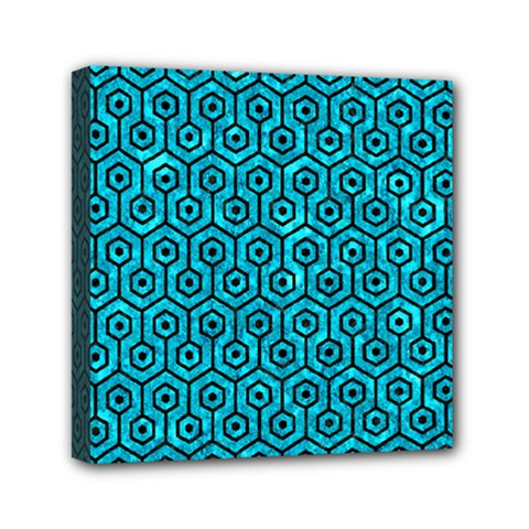 Hexagon1 Black Marble & Turquoise Marble (r) Mini Canvas 6  X 6  (stretched) by trendistuff