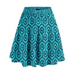 HXG1 BK-TQ MARBLE (R) High Waist Skirt by trendistuff