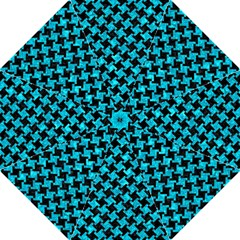 Houndstooth2 Black Marble & Turquoise Marble Hook Handle Umbrella (large) by trendistuff