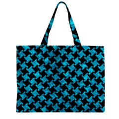 Houndstooth2 Black Marble & Turquoise Marble Zipper Mini Tote Bag by trendistuff
