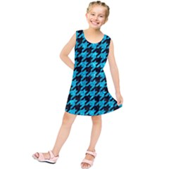 Houndstooth1 Black Marble & Turquoise Marble Kids  Tunic Dress