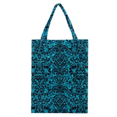 Damask2 Black Marble & Turquoise Marble (r) Classic Tote Bag