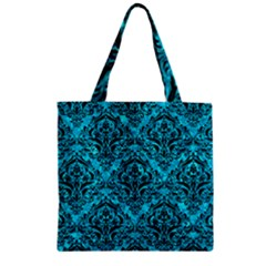 Damask1 Black Marble & Turquoise Marble (r) Zipper Grocery Tote Bag by trendistuff