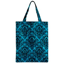 Damask1 Black Marble & Turquoise Marble (r) Zipper Classic Tote Bag by trendistuff