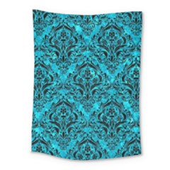 Damask1 Black Marble & Turquoise Marble (r) Medium Tapestry