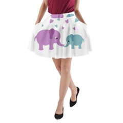 Elephant Love A Line Pocket Skirt by Valentinaart