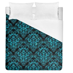 Damask1 Black Marble & Turquoise Marble Duvet Cover (queen Size) by trendistuff