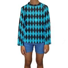 DIA1 BK-TQ MARBLE Kids  Long Sleeve Swimwear by trendistuff