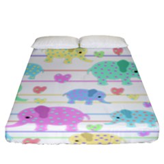 Elephant Pastel Pattern Fitted Sheet (king Size) by Valentinaart