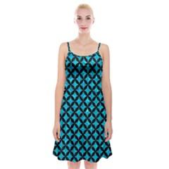 Circles3 Black Marble & Turquoise Marble (r) Spaghetti Strap Velvet Dress