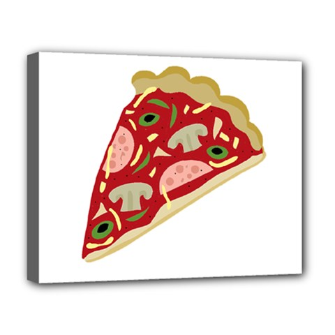 Pizza Slice Deluxe Canvas 20  X 16   by Valentinaart