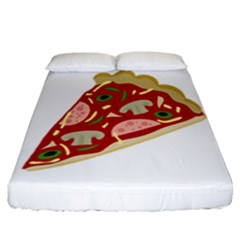 Pizza Slice Fitted Sheet (california King Size) by Valentinaart