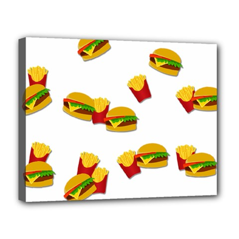 Hamburgers And French Fries  Canvas 14  X 11  by Valentinaart