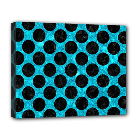 Circles2 Black Marble & Turquoise Marble (r) Deluxe Canvas 20  X 16  (stretched) by trendistuff