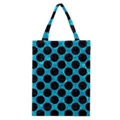 Circles2 Black Marble & Turquoise Marble (r) Classic Tote Bag by trendistuff