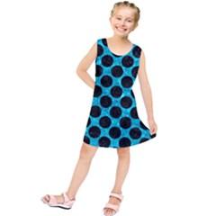 Circles2 Black Marble & Turquoise Marble (r) Kids  Tunic Dress