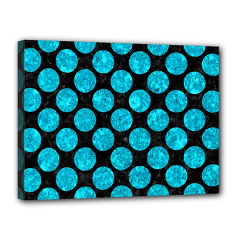 Circles2 Black Marble & Turquoise Marble Canvas 16  X 12  (stretched) by trendistuff