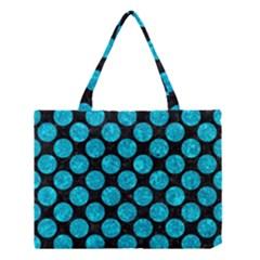Circles2 Black Marble & Turquoise Marble Medium Tote Bag by trendistuff