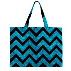 Chevron9 Black Marble & Turquoise Marble (r) Zipper Mini Tote Bag by trendistuff
