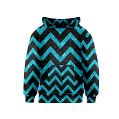 Chevron9 Black Marble & Turquoise Marble Kids  Pullover Hoodie