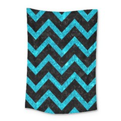Chevron9 Black Marble & Turquoise Marble Small Tapestry by trendistuff