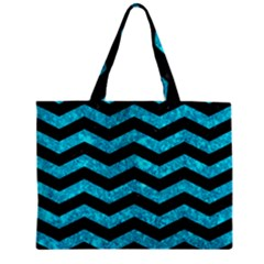 Chevron3 Black Marble & Turquoise Marble Zipper Mini Tote Bag by trendistuff