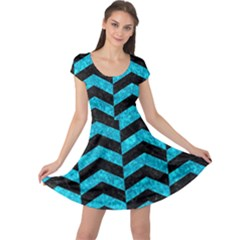 Chevron2 Black Marble & Turquoise Marble Cap Sleeve Dress
