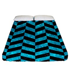 Chevron1 Black Marble & Turquoise Marble Fitted Sheet (california King Size)