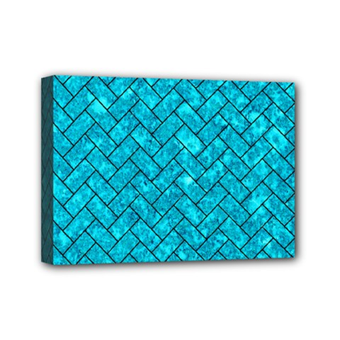 Brick2 Black Marble & Turquoise Marble (r) Mini Canvas 7  X 5  (stretched) by trendistuff