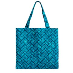 Brick2 Black Marble & Turquoise Marble (r) Zipper Grocery Tote Bag by trendistuff
