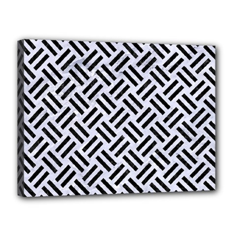 Woven2 Black Marble & White Marble (r) Canvas 16  X 12  (stretched) by trendistuff