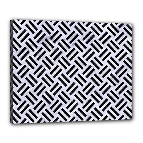 Woven2 Black Marble & White Marble (r) Canvas 20  X 16  (stretched) by trendistuff