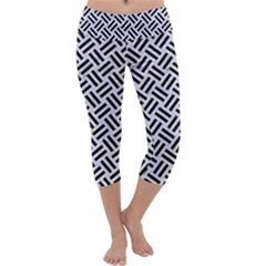 Woven2 Black Marble & White Marble (r) Capri Yoga Leggings