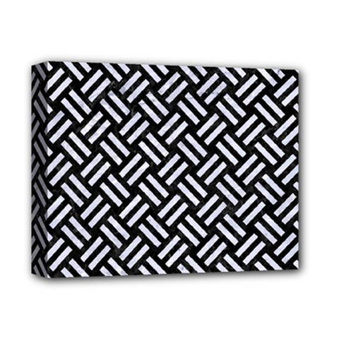 Woven2 Black Marble & White Marble Deluxe Canvas 14  X 11  (stretched) by trendistuff