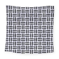 Woven1 Black Marble & White Marble (r) Square Tapestry (large) by trendistuff