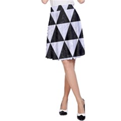 Triangle3 Black Marble & White Marble A Line Skirt