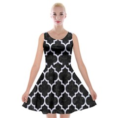 TIL1 BK-WH MARBLE Velvet Skater Dress by trendistuff
