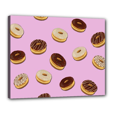 Donuts Pattern   Pink Canvas 20  X 16  by Valentinaart